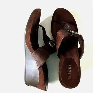 NINE WEST Brown Thong Platform Wedge Sandal